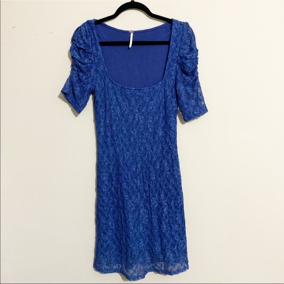 Free People Dresses & Skirts - Free People Blue Lace Dress Lined Size Medium